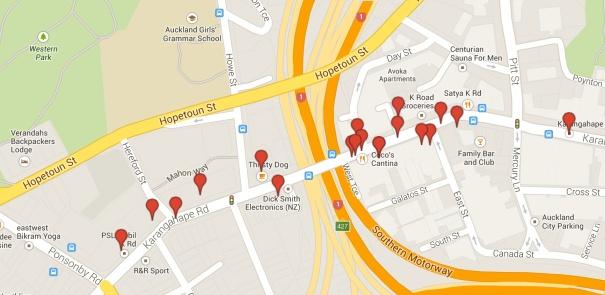 Map of K Road