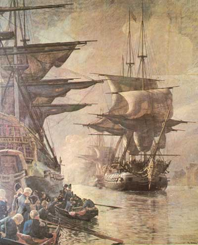 October 21 was a day of sorrow when the main part of the Danish navy left Copenhagen under the English flag. (Painting by Christian Mølsted. Picture from Royal Danish Naval Museum)