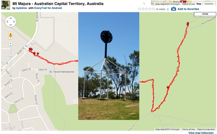 Mt Majura, Screenshot from EveryTrail