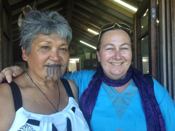 Tracey Benson with Maata Wharehoka at Parihaka