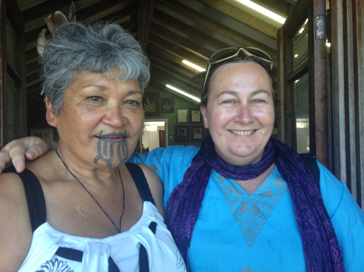 Tracey Benson with Maata Wharehoka at Parihaka