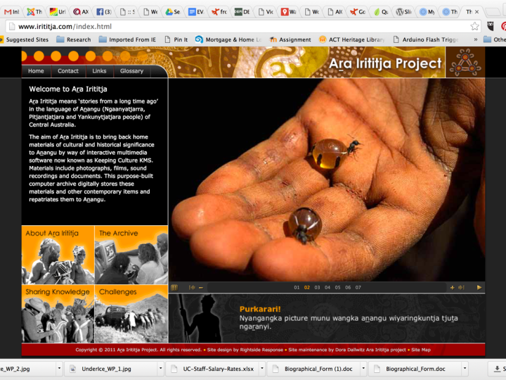 Screen shot of Ara Irititja website