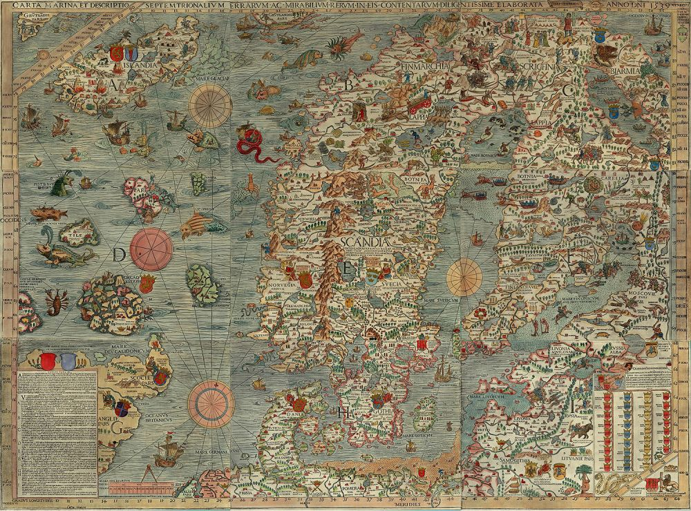 "The Carta marina (Latin ""map of the sea"" or ""sea map""),[1] drawn by Olaus Magnus in 1527-39, is the earliest map of the Nordic countries that gives details and place names."