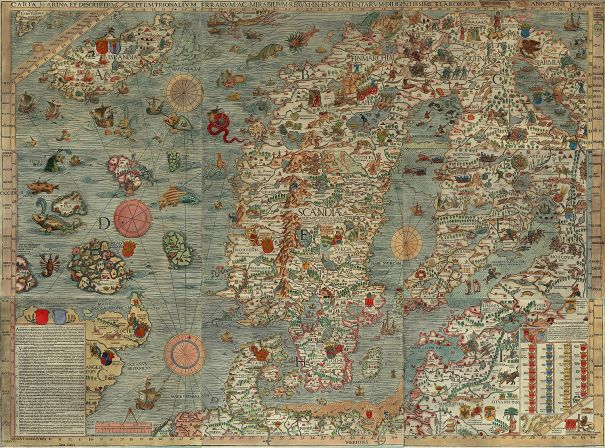 """The Carta marina (Latin """"map of the sea"""" or """"sea map""""), drawn by Olaus Magnus in 1527-39, is the earliest map of the Nordic countries that gives details and place names."""