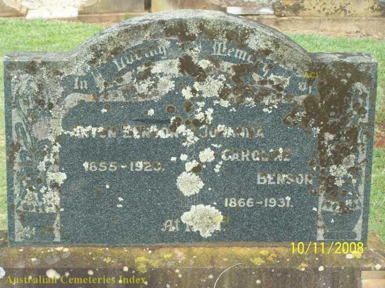 Anton and Johanna headstone (Drayton and Toowoomba Cemetery Row:8, Plot:20)