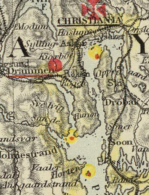 Drammen - detail from map - Denmark, S.Norway, Scale: 1 : 1774080, Letts, Son & Co 1883 (David Ramsey Map Collection)