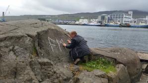 Documentation of 'Trace drawing' Ansuz, Mannaz, Jera in Tórshavn, photograph by Martin Drury