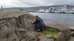 Documentation of 'Trace drawing' Ansuz, Mannaz, Jera in Tórshavn, photograph by Martin Drury