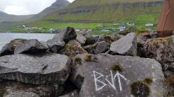 Documentation of 'Trace drawing' Berkana, Laguz (inverted), Teiwaz in Fuglafjørður, photograph by Martin Drury