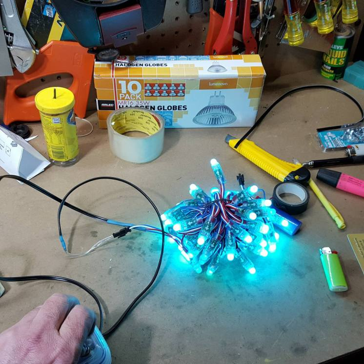 Coding the LEDs. Photo by Paul Murray