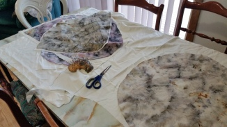 Sewing the fabric into shell shapes